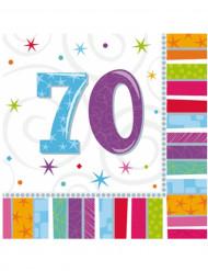 70-vuotispäivien paperilautasliinat 33 x 33 cm - 16 kpl