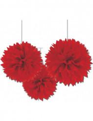 Ripustettavat punaiset koristeruusukkeet - 3 kpl