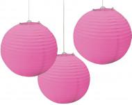 Kolme vaaleanpunaista lyhtykoristetta