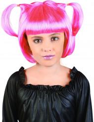 Lasten vaaleanpunainen peruukki saparoilla