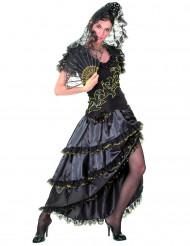 Musta-kultainen flamencotanssijattaren naamiaisasu aikuiselle