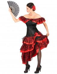 Musta-punainen flamencotanssijan naamiaisasu aikuiselle