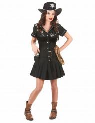 Musta cowgirl mekko paljeteilla - Naamiaisasut aikuisille