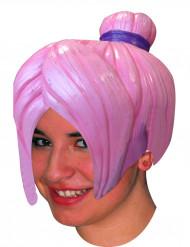 Naisten vaaleanpunainen lateksinen mangaperuukki nutturalla