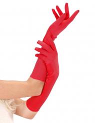 Naisten pitkät punaiset käsineet