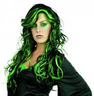 Neonvihreä ja musta pitkä kihara peruukki