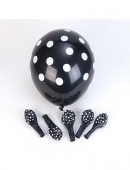 Musta, valkopilkullinen ilmapallo 6 kpl