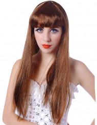 Pitkä otsatukallinen punaisenruskea peruukki naisille