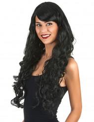 Naisten peruukki pitkät mustat kiharat hiukset