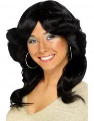 Naisten musta peruukki 70-luvun kampauksella