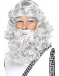Valkoinen kihara peruukki, parta ja kulmat aikuisille