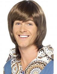 Miesten ruskea peruukki 70-luvun kampauksella