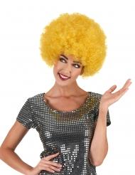 Diskohenkinen keltainen afroperuukki aikuisille