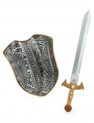 Muovinen ritarin asesetti lapsille - sis. suojakilven ja miekan