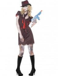 Seksikkään zombigangsterin naamiaisasu naiselle halloween