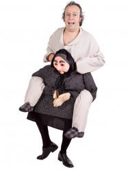 Aikuisten naamiaisasu Humoristinen Miestä reppuselässä kantava mummo