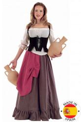 Keskiaikainen palvelijatar -asu naisille