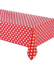 Punainen pilkullinen pöytäliina