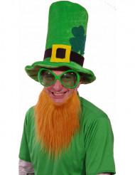 Pyhän Patrikin vihreä veluurihattu ja punainen parta