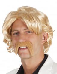 Miesten vaalea peruukki ja viikset