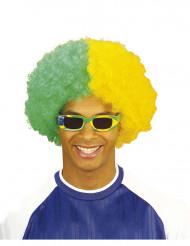 Kihara vihreä-keltainen peruukki aikuiselle