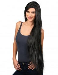 Aikuisten musta peruukki, extra-pitkä
