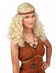 Naisten vaalea peruukki Hippi