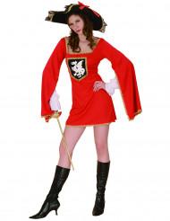 Muskettisoturin punainen mekko naisille