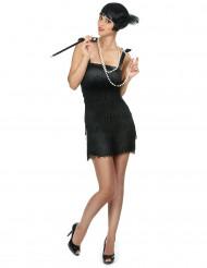 Musta lyhyt charleston mekko hapsuilla - Naamiaisasu teemajuhliin