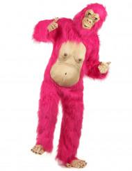 Vaaleanpunainen gorilla- asu aikuisille