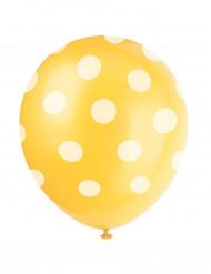 Keltainen, valkopilkullinen ilmapallo 6 kpl