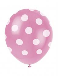 Vaaleanpunaiset polka dot-ilmapallot 6kpl