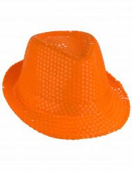 Aikuisten oranssi hattu paljettikoristeilla
