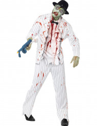 Valkoisen zombiegangsterin asu miehelle halloween
