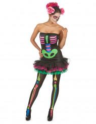 Värikäs luurankoasu naiselle halloween