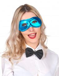 Metallinhohtoinen sininen puolinaamio aikuisille