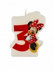 3-vuotissynttäreiden kakkukynttilä 4,5 x 6 cm - Minnie
