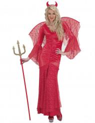 Paholaisen punainen pitsiasu naiselle halloween