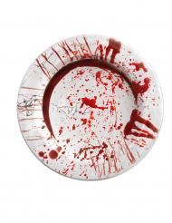 Verisillä kädenjäljillä koristellut Halloween-kartonkilautaset 23 cm - 8 kpl
