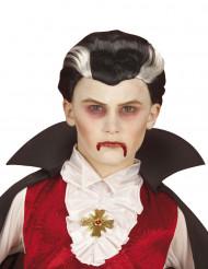 Mustavalkoinen vampyyriperuukki lapsille