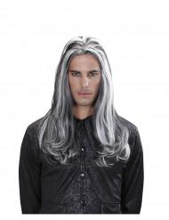 Pitkä mustavalkoinen vampyyrin peruukki aikuisille
