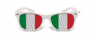 Humoristiset valkoiset aurinkolasit Italian lipun väreissä