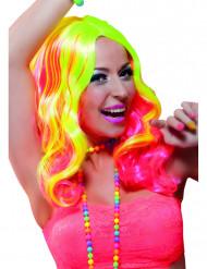 Neonkeltainen ja pinkki peruukki