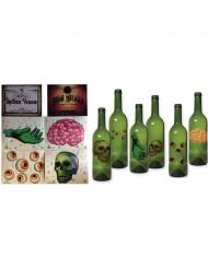 Itsekiinnittyvät koristetarrat pulloihin 6 kpl - Halloween