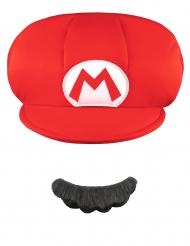 Super Marion™ lipallinen hattu ja viikset lapsille