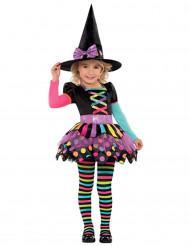 Halloweenin värikkään noidan naamiaisasu tytölle