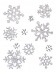Hopeanhohtoisia lumihiutaletarroja