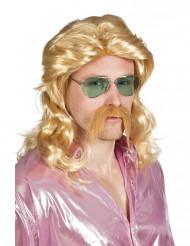 Cool dude - Miesten vaalea peruukki ja viikset
