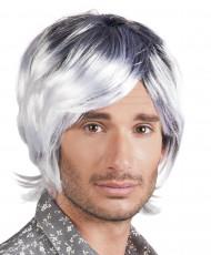 Puolipitkä harmaa peruukki aikuisille