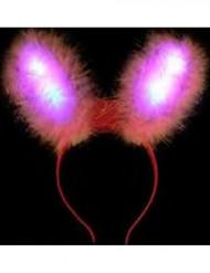 Vaaleanpunaiset pupunkorvat LED-valoilla